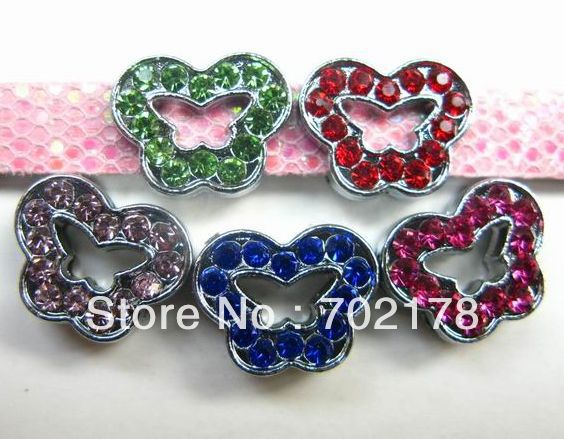 8mm zinc alloy mix colorful rhinestone Butterfly 50pcs Slide Charms Fit Wristband and Pet Dog Cat Tag Collar(China (Mainland))