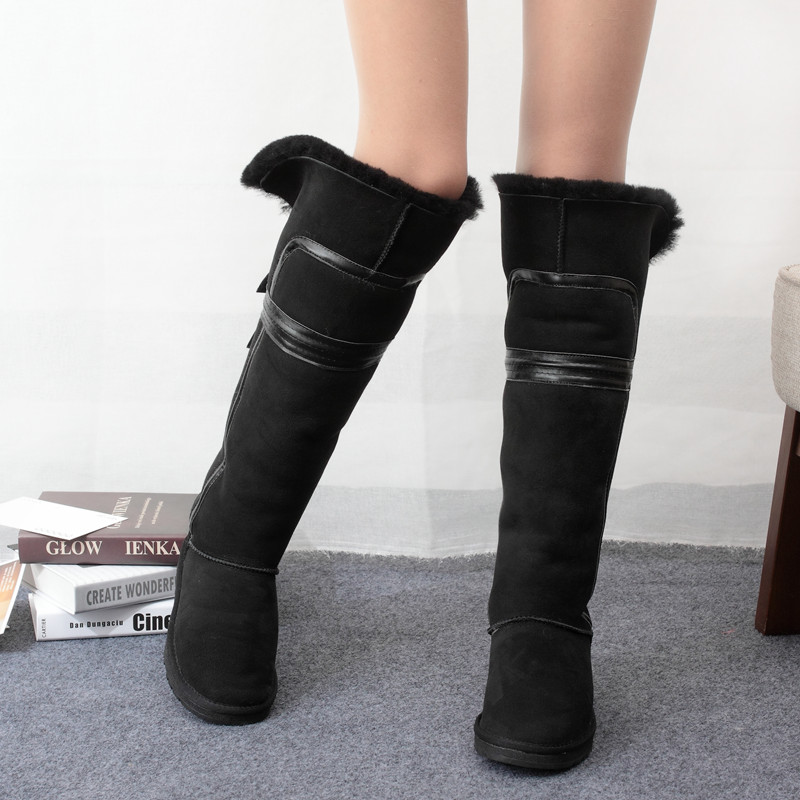Free shipping Winter thermal cowhide wool snow boots flat heel boots high-leg boots cotton boots women's shoes long boots
