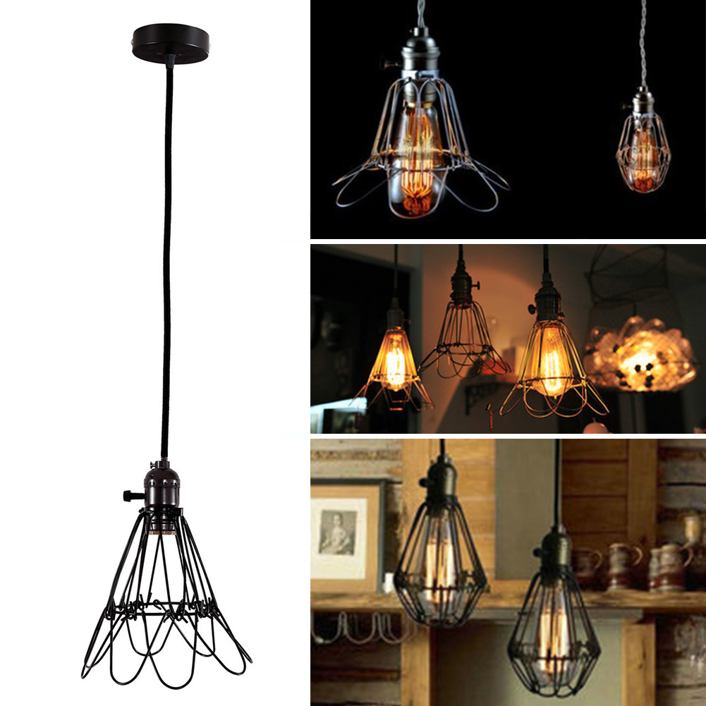 Edison Retro Antique Vintage Home Pendant Light Shade Durable Chandelier Cage Hanging Lampshade Black<br><br>Aliexpress