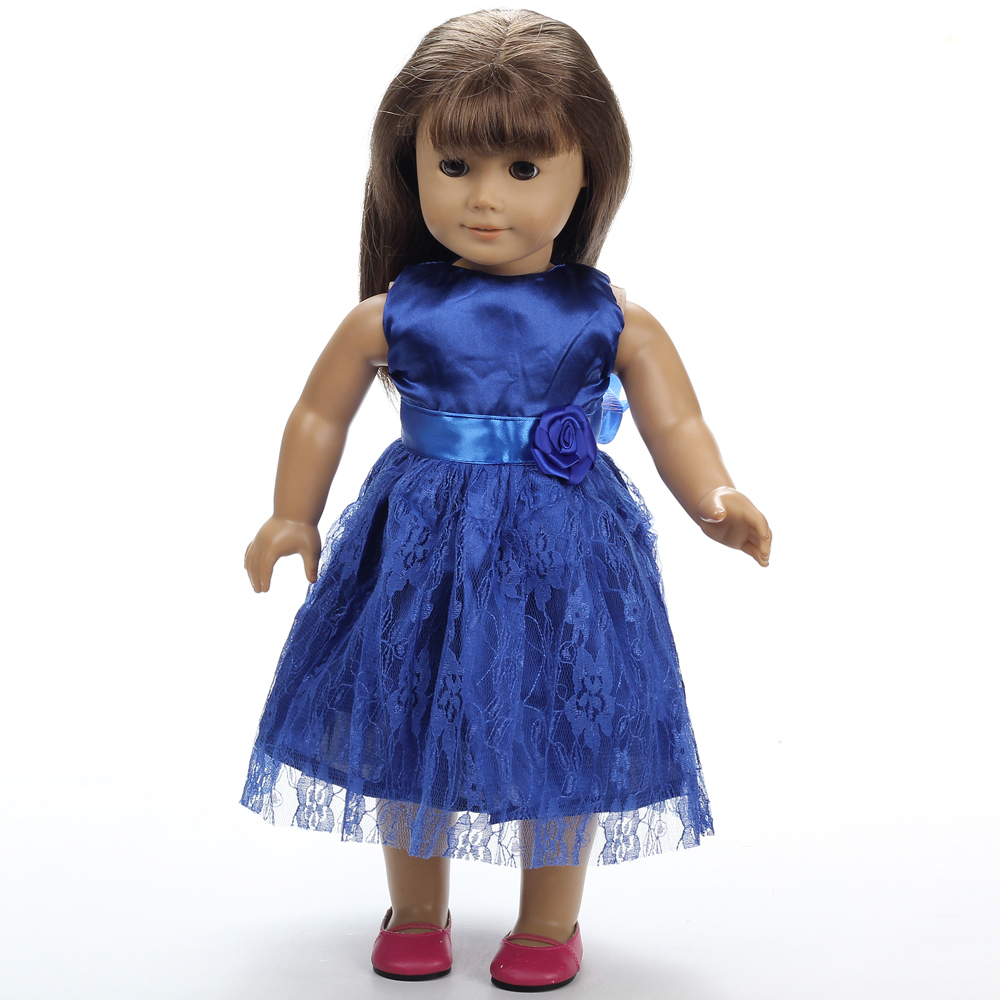 2016new blue doll dress handmade doll clothes 18 18 inch