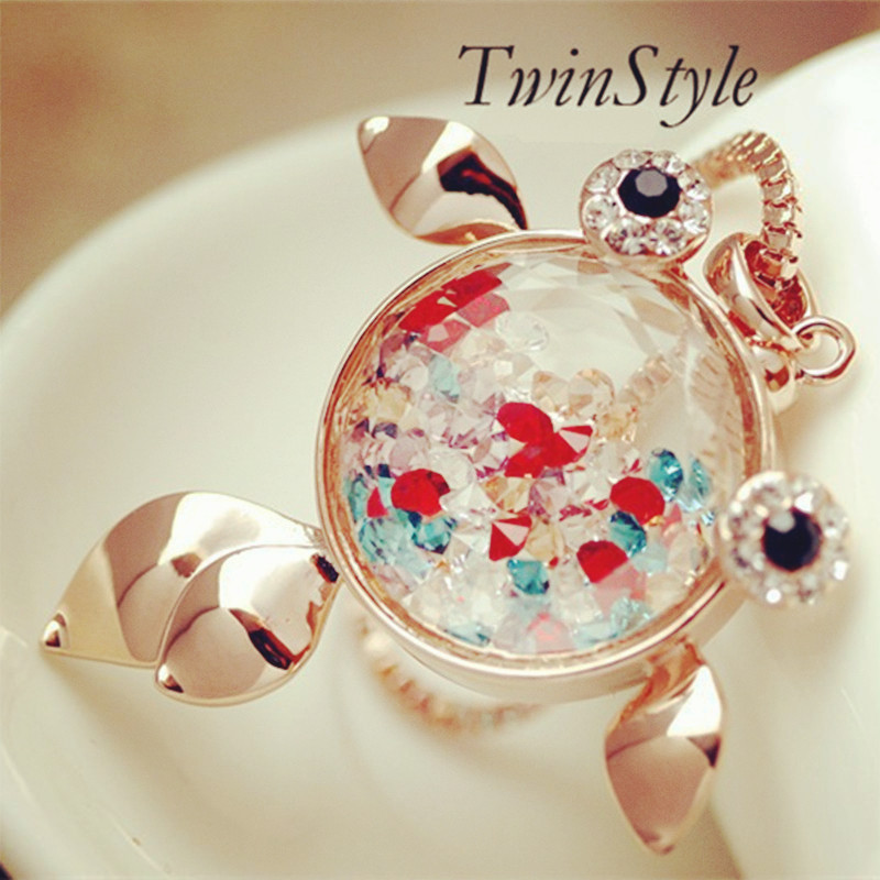 fine jewelry colorfun crystal fish pendant necklaces top quality Black Stone eyes goldfish necklaces fashion women(China (Mainland))