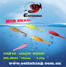 12pcs 3cm/0.35g Colors Esfishing Mon Shad Colors Fishing lures Lures Soft Bait Ice Fishing lures Swimbait Tackle Isca Artifical(China (Mainland))