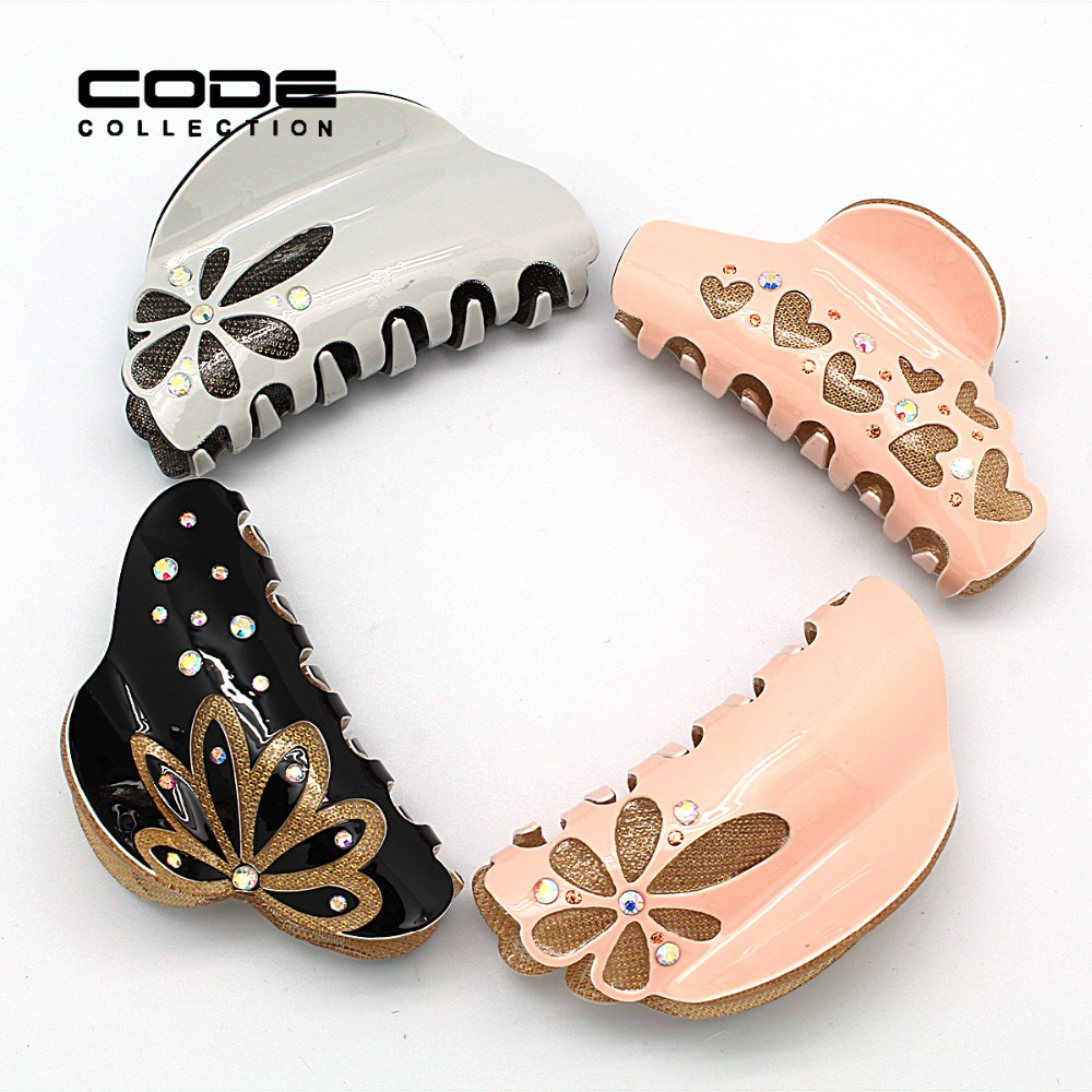 Top Acetate Rhinestone Hair Claw Flower Crystal Hair Clamp Clip Acrylic Floral HairClips Hollow Floral Accessories for Women