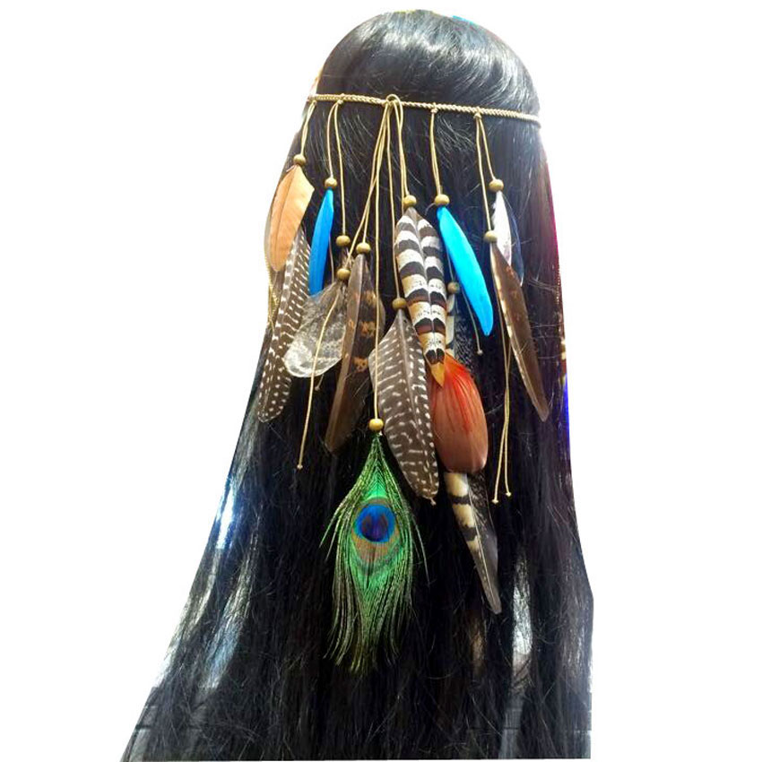 Ostrich Feather Indian Disco Plaited Braided Head Band Neon Boho Hippy Hair Extension 2016 NEW(China (Mainland))