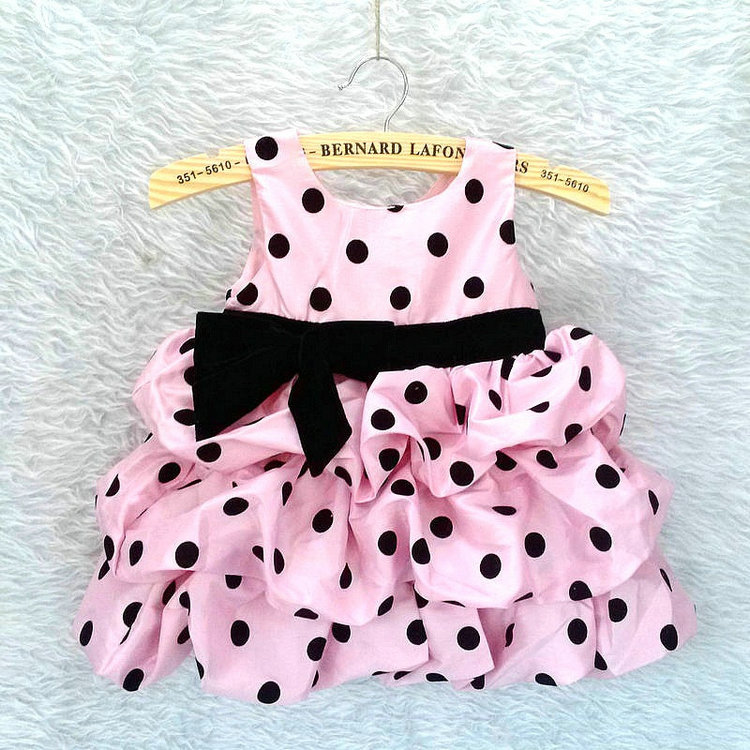 girl dress children clothing baby polka dot princess birthday party