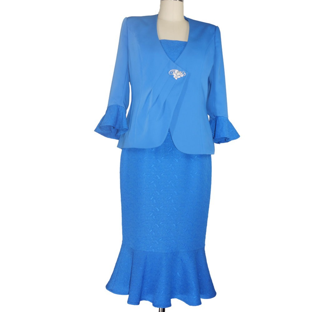 June syoung fashion lady church suits romantic blue color two pieces