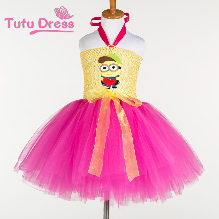 2015 christmas minion girl tutu dress for birthday photo wedding party
