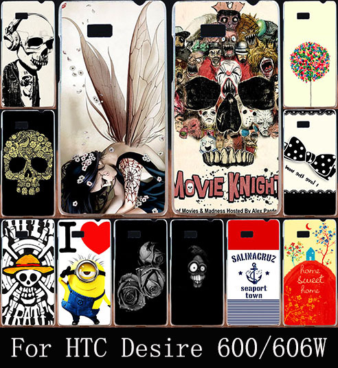 Colorful Skull Design Cool Head Hard Plastic Cover Fashion Painted Case For HTC Desire 600 Dual SIM 606W Phone Bag Shell Cases(China (Mainland))