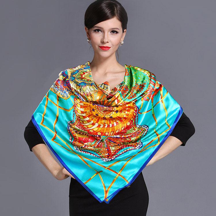 2016 spring high quality 100% real silk satin Scarf Shawl wrap women female fashion big square Scarves pattern 110x110CM(China (Mainland))