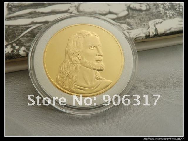 5pcs/lot Free shipping High Quality Jesus Buddhism souvenir Gold clad coins