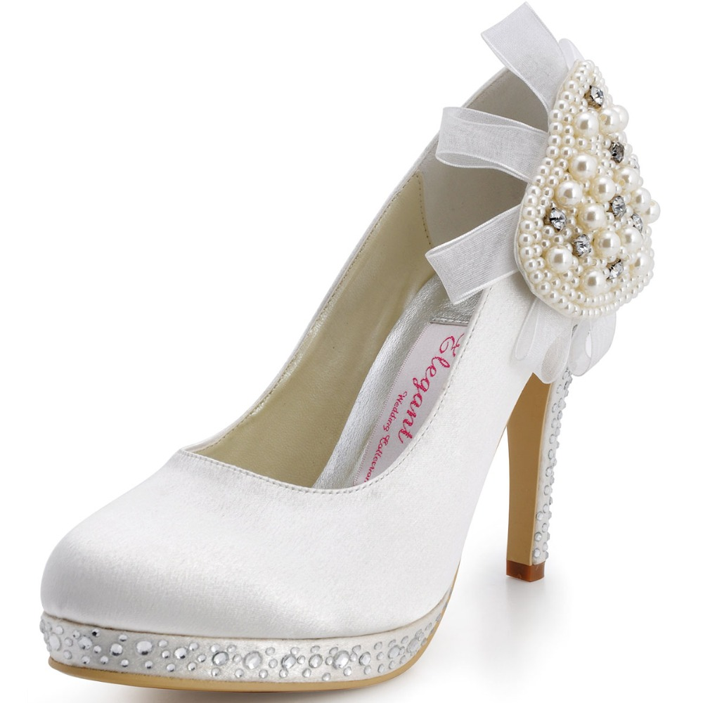 Big Sale EP11127-PF White Women Evening Party Pumps Round Toe Rhinestone Pearls Platform Satin Wedding Bridal Dress Shoes US 8(China (Mainland))