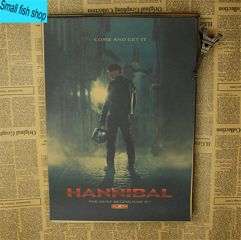 Hannibal Mads Mikkelsen Hugh Dancy Horrible movie Home Furnishing decoration Kraft Movie retro Poster Drawing core Wall stickers