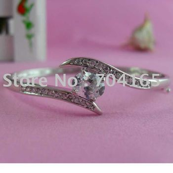 PREFERENTIAL PRICE Free shipping high quality zircon A+ platinum plating brass bangle SPBA008 60X52MM 1PCS/LOT