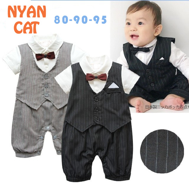 Kids summer new short-sleeved boys gentleman tuxedo black and gray bow tie striped Romper newborn-2T  wedding  party clothing  <br><br>Aliexpress