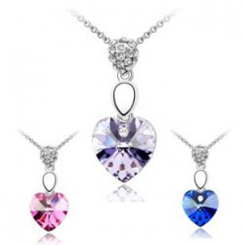 DHL&amp;Aramex Free Shipping &amp; Gift Bag, Hotselling New Arrival Heart Pendant Crystal Necklace korean style jewelry set,No.J4098<br><br>Aliexpress