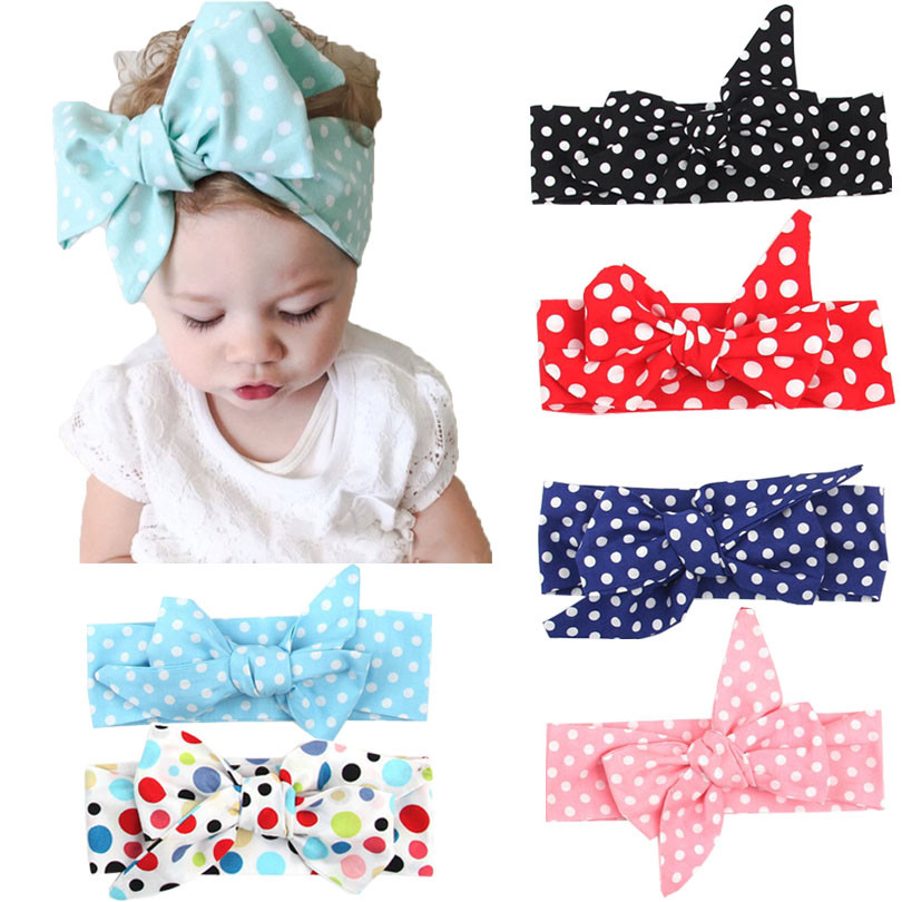 1 PCS Baby Kids Girl Child Toddler Infant wave dot Bow elastic Turban Knot Headband Headwear Hair fashion Band Accessories(China (Mainland))