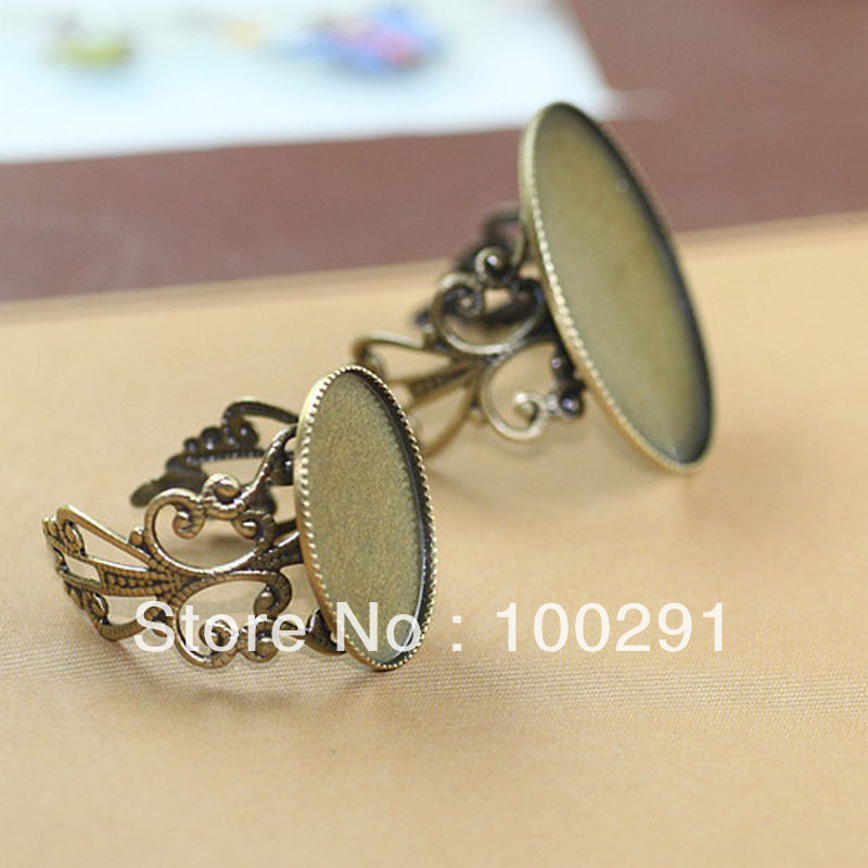 Free Shipping !!! 100pcs Crankset flower ring setting 18*25mm Oval ring base jewelry accessories(China (Mainland))