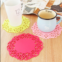 2PCS/Lot Colorful Lace Flower Hollow Design Round Silicone Table Heat Resistant Mat Cup Coffee Coaster Cushion Placemat Pad(China (Mainland))