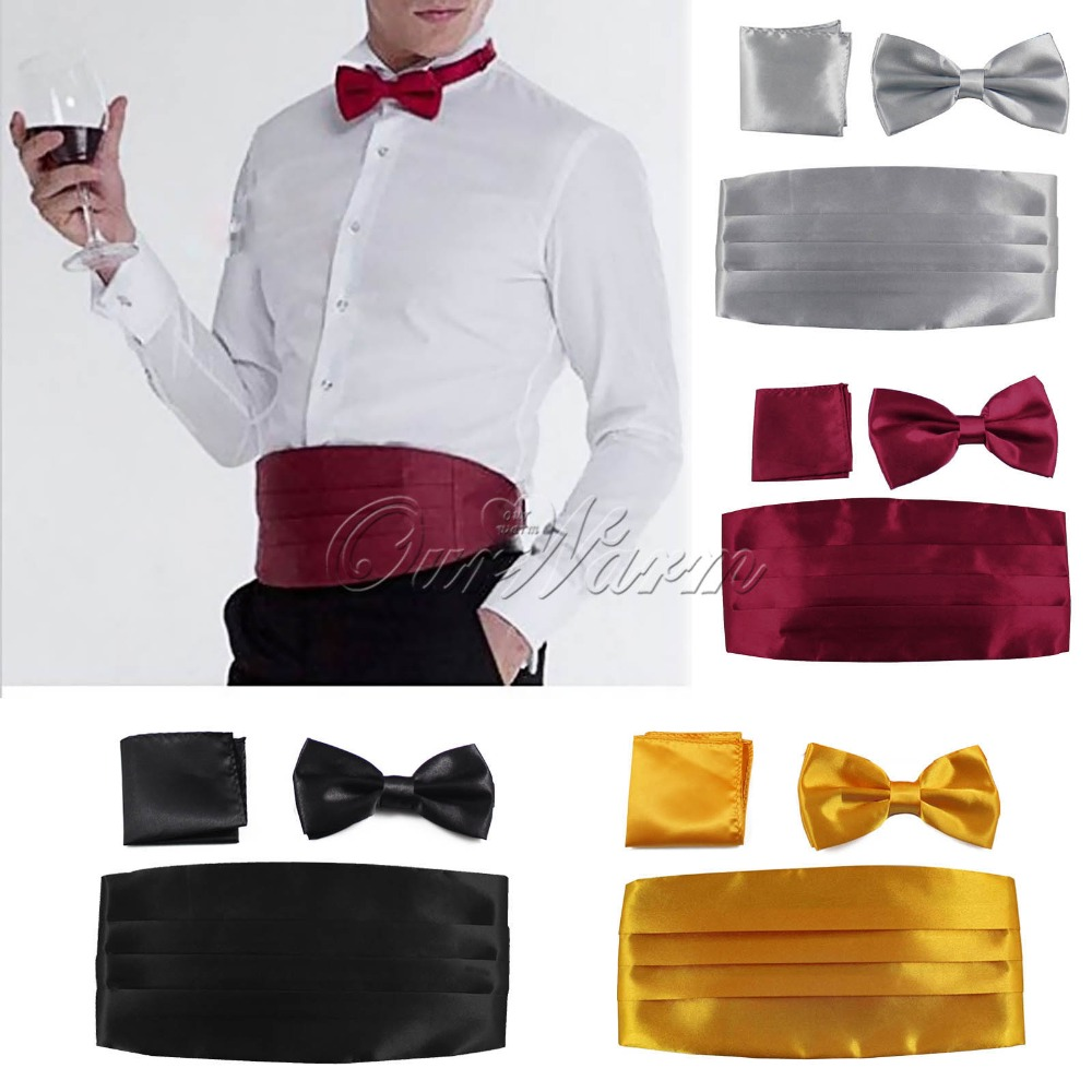 Wide Gentleman Belt + Bow Tie and Handkerchief Set for Men Neck Ties and Hanky Sets Formal Tuxedo Wedding Party Accessories(China (Mainland))