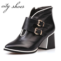 Genuine Leather Black Round Toe Square Low-heels Women Fashion Ankle B