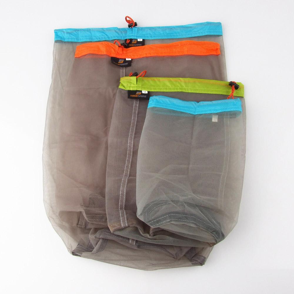 Brand 5 size Tavel Camping Sports Ultralight Mesh Stuff Sack Drawstring Storage Bag Super Light Yarn Sleeping Bags Compress Bags(China (Mainland))