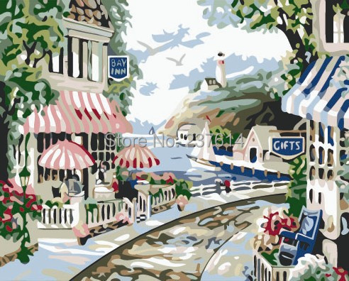 Frameless DIY digital oil painting numbers arcylic paint 40X50cm romantic little town picture number - bellehouse store