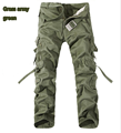 Tactical Men Loose Cargo Commando Style Full Length Trousers Plus Size Multi Pocket Overall Washed Cotton