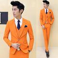 2016 men s boutique quality slim fit leisure pure cotton suit three piece Male business wedding