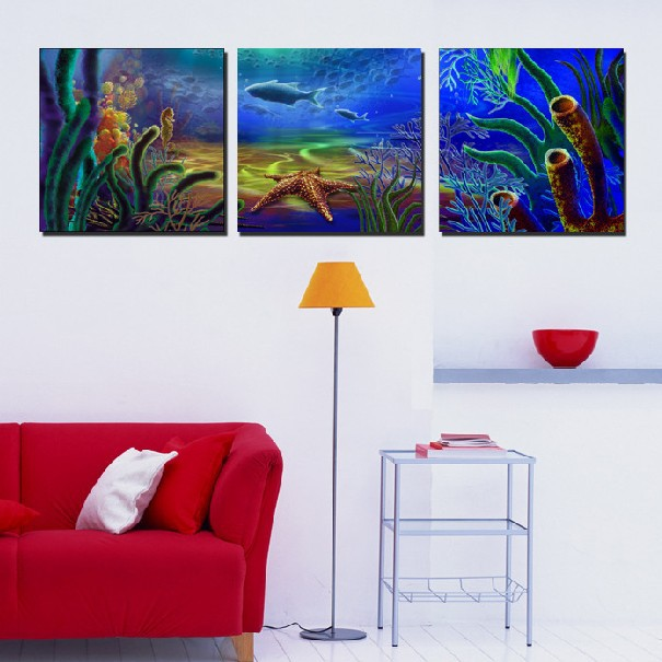 3 Panel Hot Sell Modern Wall Painting Home Decorative Art Picture Paint on Canvas Prints The bottom of the sea romantic world(China (Mainland))