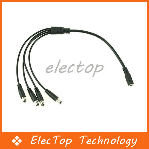 2.1mm DC 1 to 4 Power Splitter Cable for CCTV Security Camera 500pcs/lot Wholesale(China (Mainland))