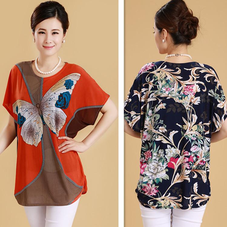 L,XL,XXL,3XL 2015 New Ropa Mujer Summer Tunic Flower Print Plus Size Women T shirt Vintage Top Camisetas Blusa Feminina 30 Color(China (Mainland))