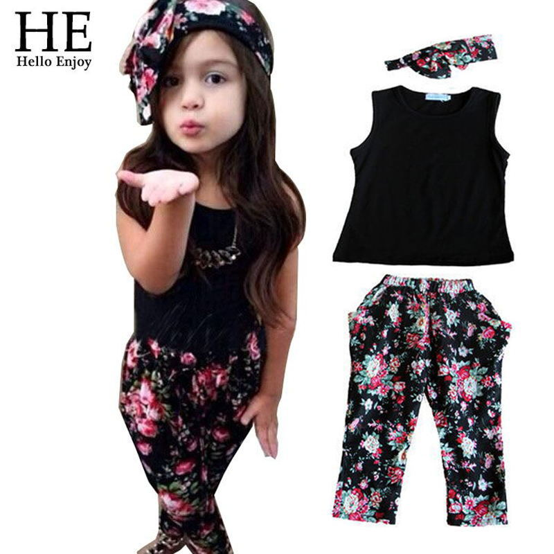 Hello Enjoy girls clothes summer sets kids set baby Brand Chothing Set Headband+vest+pants children clothing 3-8y - HE official store
