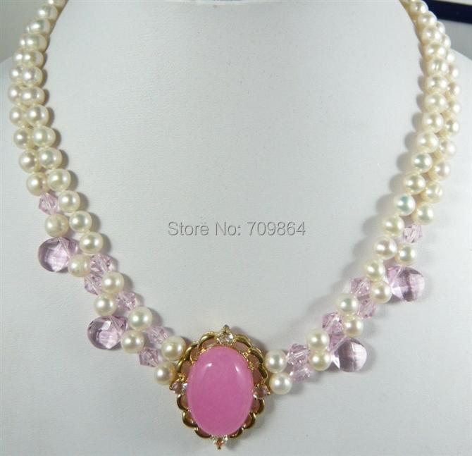 New Hot Fashion Jewelry Beautiful Lady's Stylish 2 rows 7-8MM white pearl pink jade crystal pendant necklace / free shipping(China (Mainland))