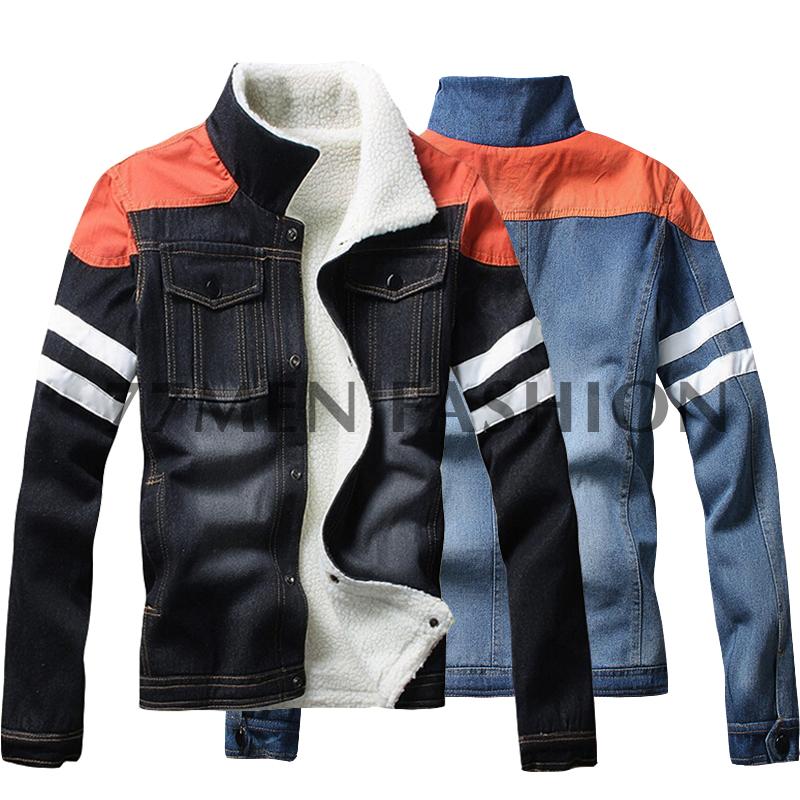 Thick Warm Oversized Jean Jacket Slim Fit Winter Fleece Lined Denim Jacket Men Big Size 5XL(China (Mainland))