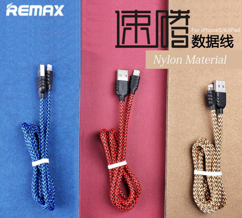 Nylon Fibre 8pin lightning USB Cable for iPhone 5 6 iPad iPod Support IOS 8.2 Fast Charing Double Sides Connector 100cm Remax(China (Mainland))