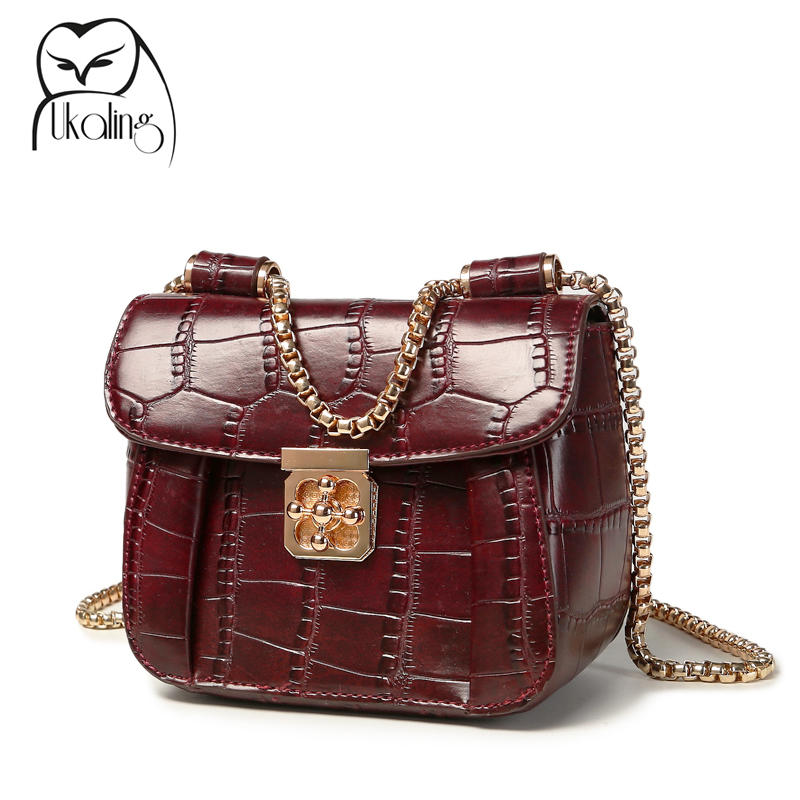 2016 Women Messenger Bags Artificial Leather Women's Bag Ladies Crossbody Bags Small Casual Female Shoulder Chain Lock Bolsas(China (Mainland))