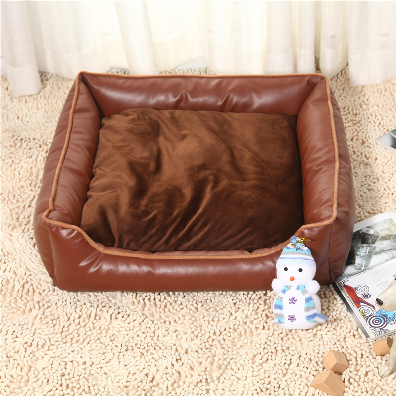 New Waterproof PU kennel soft Large luxury pet house washable pet nest dog bed black and coffee dog beds S/M/L Free shipping(China (Mainland))