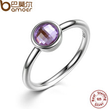 BAMOER Elegant Glass 925 Sterling Silver Rings Poetic Droplet, Purple CZ Finger Ring for Women Fashion Wedding Jewelry PA7185(China (Mainland))