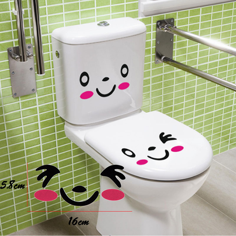 2Pcs/Set Wall Stricker Toilet Wall Bathroom Stickers Home Decor Cute Cartoon Red Smiling Face free shipping Hot sales 2016(China (Mainland))
