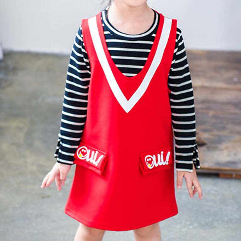 Boutique Kids Clothing 2pcs Girls Clothes Suits Striped T-shirt + Vest Dress Girls Clothing Sets Toddler Girl Clothing For Fall(China (Mainland))