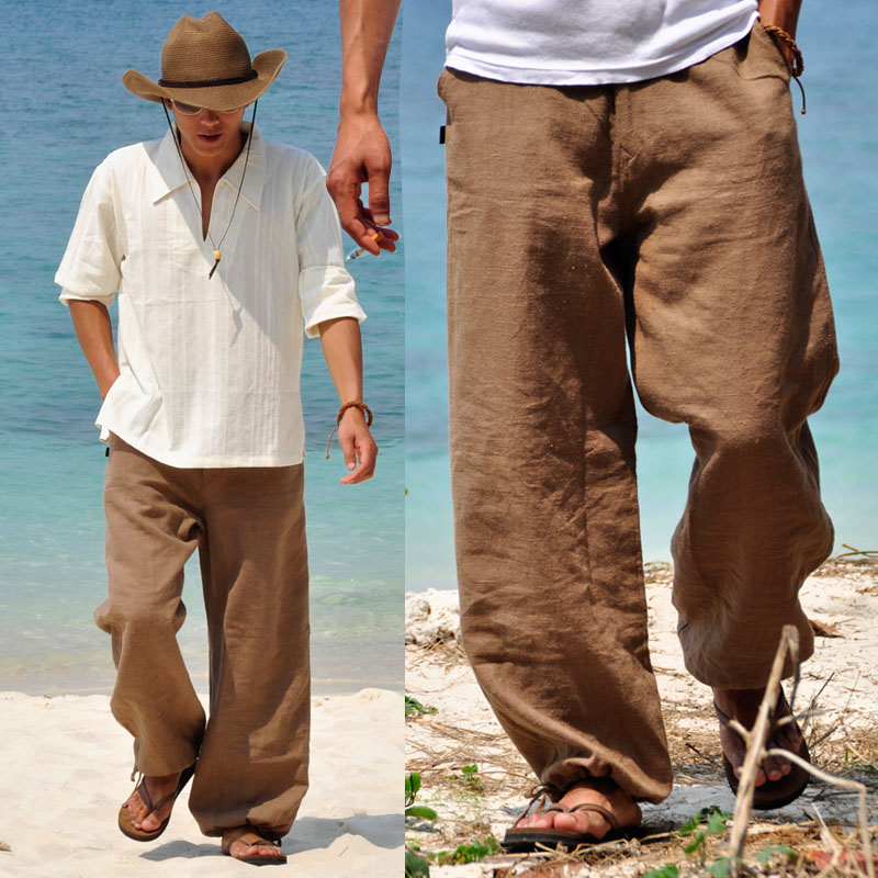Buy Summer male casual pants loose comfortable water wash linen ...