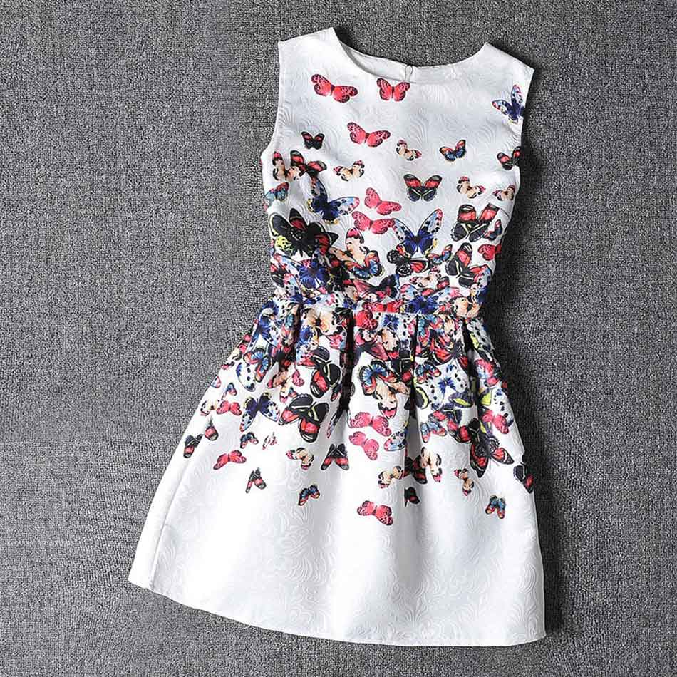2016 Summer Style Dresses For Girl Butterfly Flower Printed Sleeveless Formal Girl Dresses Teenagers Party Dress Free Shipping<br><br>Aliexpress