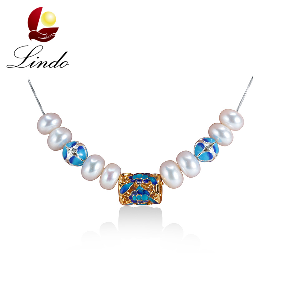 Vintage Pearl Women Necklace Elegant Palace Cloisonne Jewelry Natural Pearls Women Necklaces Christmas Gift Chains Necklaces(China (Mainland))