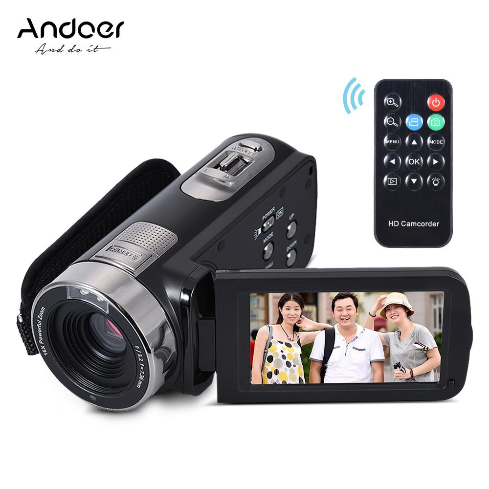 """Andoer HDV-302S Full HD 1080P Digital Video Camera 3"""" LCD Touch Screen 16X 20MP Anti-shake Camcorder DV With Remote Shutter(China (Mainland))"""