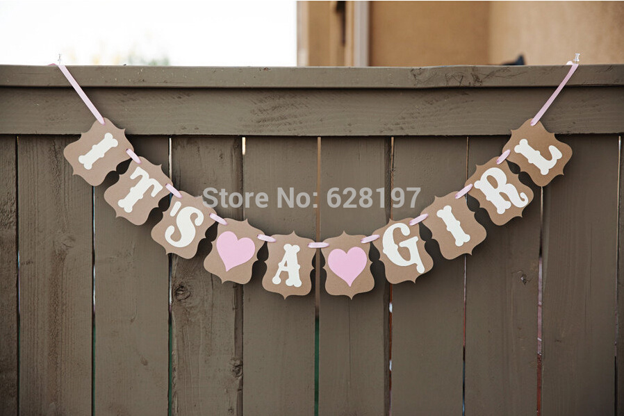 "10Pcs/Set ""Its a girl"" + hearts vintage baby shower Garland Happy birthday Party Decoration Banner Photo Booth Props(China (Mainland))"