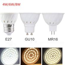 4W 6W 8W GU10 MR16 E27 LED Bulbs Light 220V SMD 2835 Led Spotlights Warm / Cool White / White GU 10 GU5.3 Base LED Lamp 10PCS(China (Mainland))