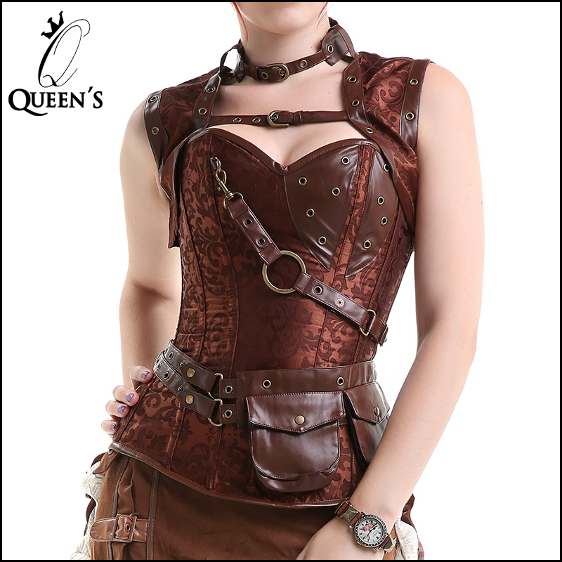 2015 New Gothic Steel Boned Bustier Brown Plus Size Steampunk Corset Top High Neck Corselet Lingerie Sexy Body Shaper Clothing(China (Mainland))