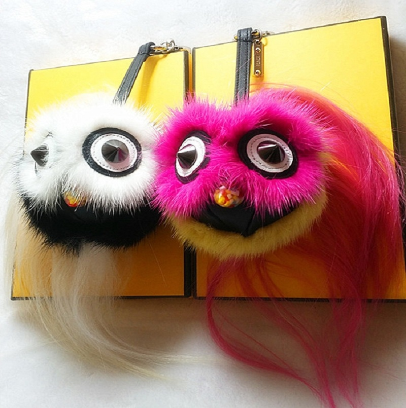 Monster fur Real mink fur Keychain bag charm car pendant plush imitation of cute owl fur Fashion key chains free shipping(China (Mainland))