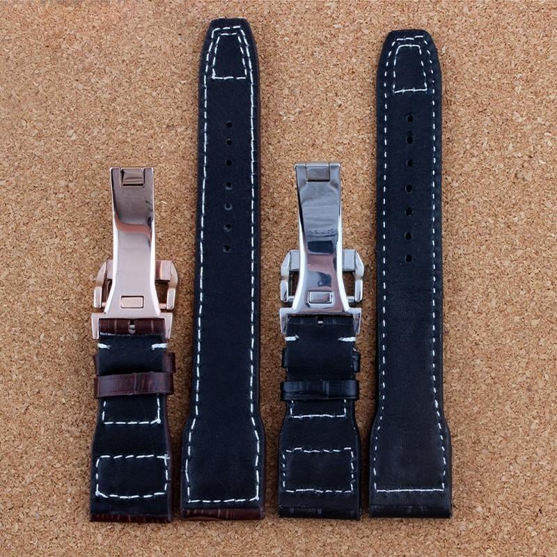 Роскошные группа, Новый черный 21 мм 22 мм натуральная кожа ремешок для часов для IW C портофино пилот португальский часы, С логотипом