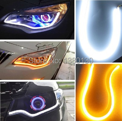 2 x 60cm Super Bright Daytime Running Lights LED Car steering lights Signal Flexible Headlight Angel Eye Free shipping(China (Mainland))